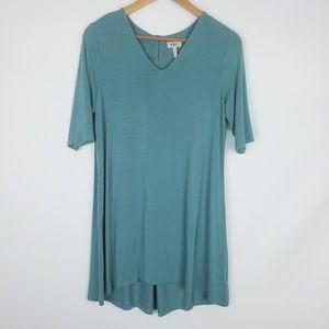 LOGO lori Goldstein blue v neck tunic dress